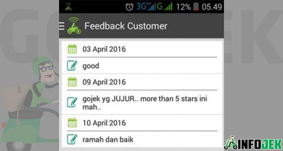 Cara Melihat Feedback Customer Gojek