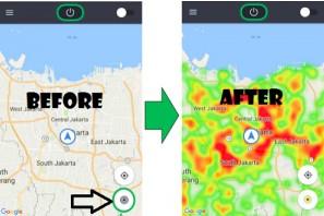 gambar perbedaan maps Grab yang belum dan sudah ada fitur Heatmap