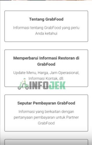 2. Pada halaman website tersebut kamu pilih Memperbarui Informasi Restoran di GrabFood