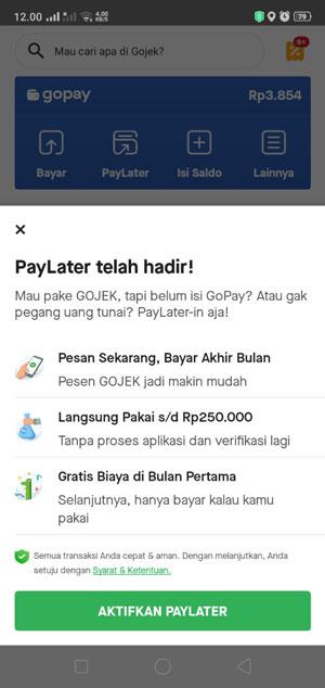 Klik Aktifkan PayLater