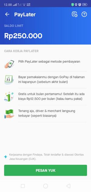 PayLater Gojek Telah Aktif