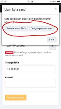 SMS ataupun Panggilan