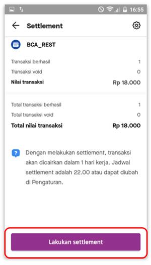 Pilih Lakukan Settlement