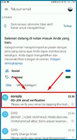 GO JEK email verification