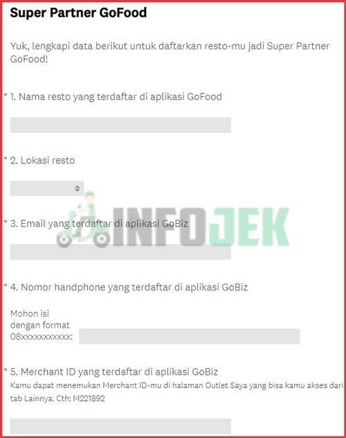Isi Formulir Pendaftaran Resto Super Partner GoFood