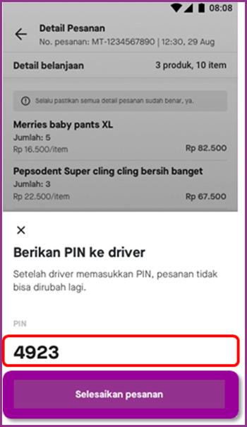 3 Berikan PIN Validasi ke Driver Gojek
