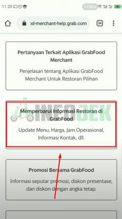 Memperbarui Informasi Restoran GrabFood