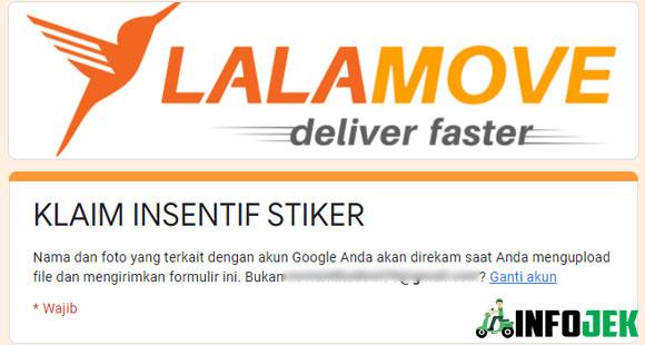 Formulir Klaim Insentif Stiker Lalamove