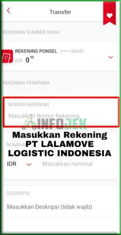 3 Masukan Nomor Rekening CIMB Niaga PT LALAMVE LOGISTIC INDONESIA