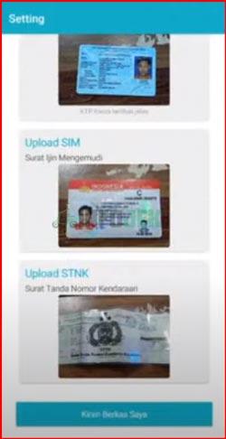 Upload KTP SIM dan STNK Kendaraan