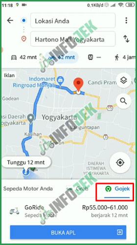 Posisikan Google Maps Pada Tarif Gojek