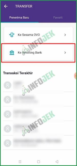 3 Pilih ke Rekening Bank