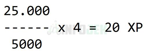 Contoh Perhitungan Jumlah XP Goclub Diperoleh