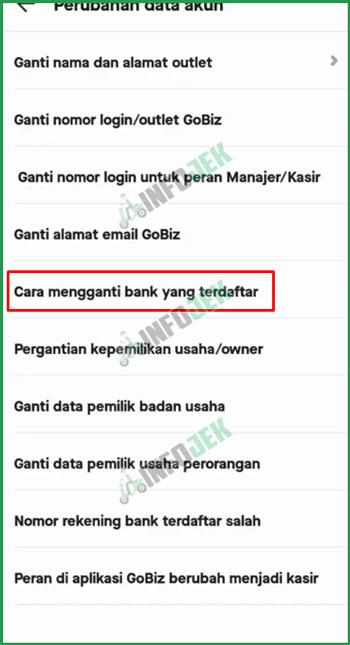 6 Pilih Ganti Bank Terdaftar