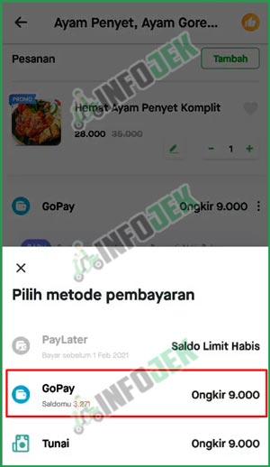 6 Pilih GoPay Sebagai Pembayaran