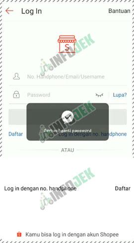 7 Perubahan Password Berhasil