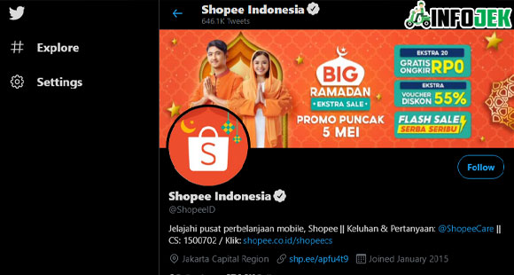 Menggunakan Sosial Media Shopee