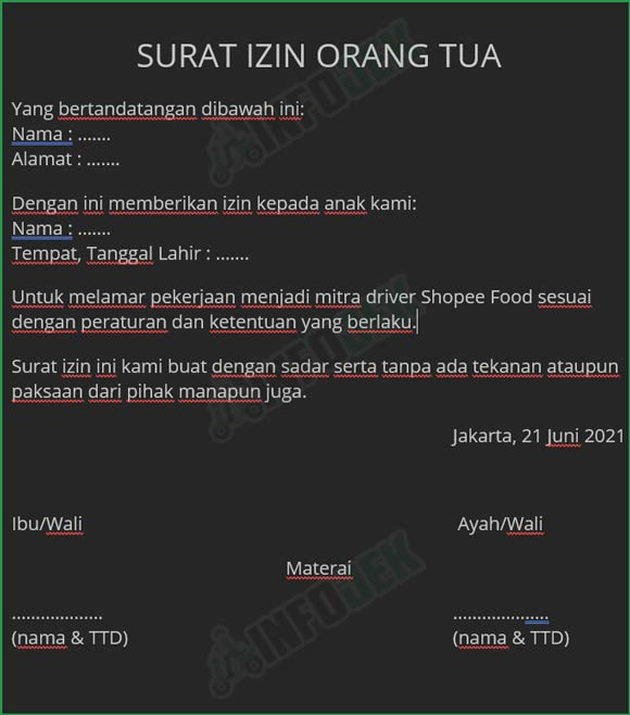 Contoh Surat Izin Orang Tua Untuk Shopee Food