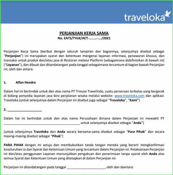 Contoh Surat Perjanjian Traveloka Eats