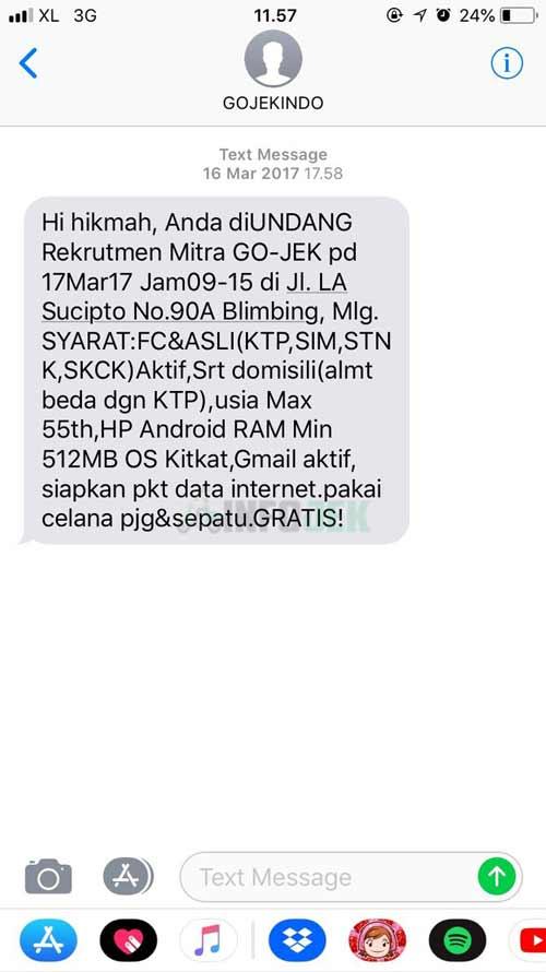 Contoh SMS Panggilan Gojek Driver