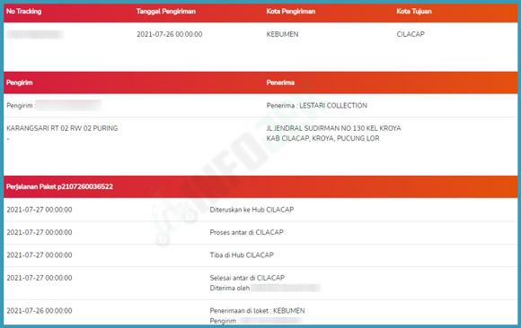 Contoh Status Pengiriman POS Indonesia