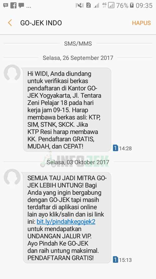 Conton SMS Verfikasi Gojek Driver